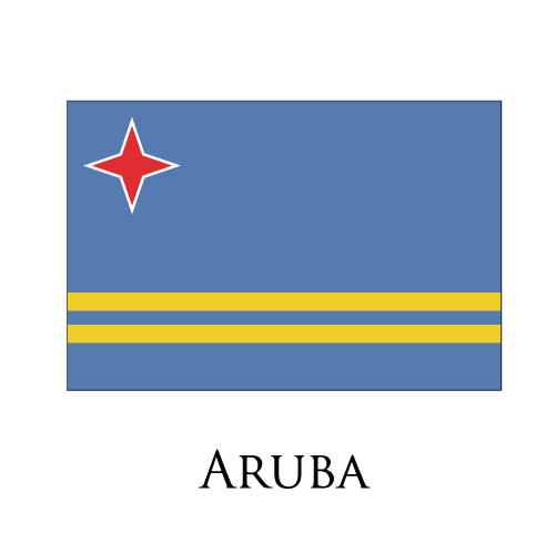 Aruba flag logo iron on sticker