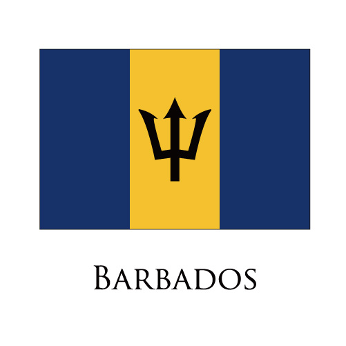 Barbados flag logo iron on sticker