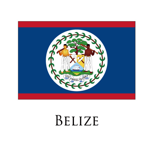 Belize flag logo iron on sticker