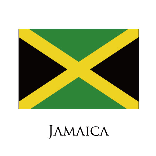 Jamaica flag logo iron on sticker