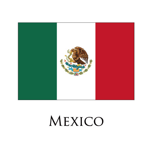 Mexico flag logo iron on sticker