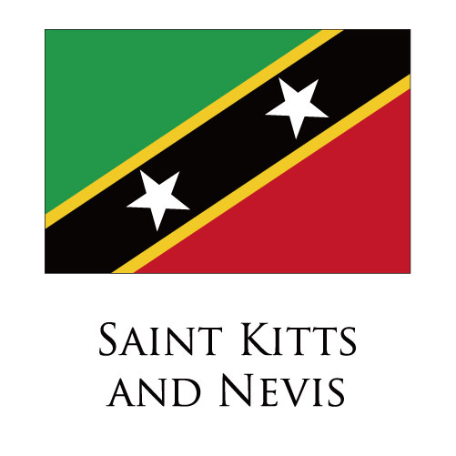 Saint Kitts and Nevis flag logo iron on sticker