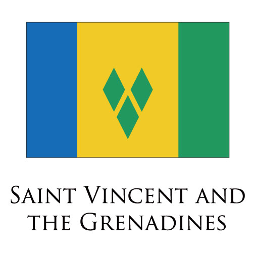 Saint Vincent and The Grenadines flag logo iron on sticker